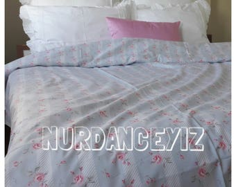 Vintage Floral Duvet cover pale blue pink red roses pastel Queen-King oversized duvet cover shabby chic Bedding Turkish cotton Nurdanceyiz