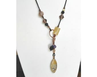 Essential Oil Diffuser Necklace, lariat, long necklace, yellow and purple, copper necklace, jasper, amethyst, womens fashion, gift for her