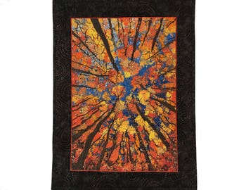 Autumn Art Quilt, Confetti Quilted Art, Looking Up Trees, Woodland Decor, Office Wall Hanging, Original Fiber Art, by Sally Manke, Orange