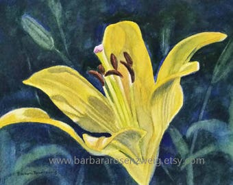 Yellow Lily Print, Flower Painting, Yellow Flower Watercolor, Kitchen Wall Decor, Garden Flower Art, Flower Art Print, Lily Flower Art, Lily