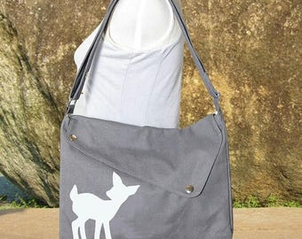 On Sale 20% off gray cotton canvas purse / messenger bag / shoulder bag / deer messenger /diaper bag / fawn sewn