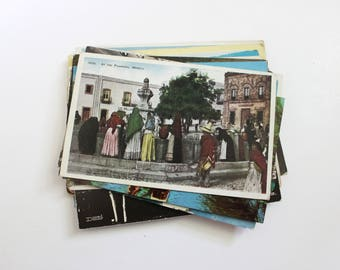 SALE - 28 Vintage Mexico Postcards - DAMAGED - Collage, Mixed Media, Scrapbooking, Assemblage, Paper Craft, Travel Journal Supplies