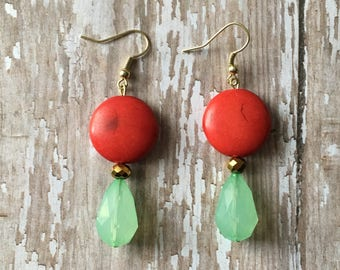 Gorgeous red and seafoam beaded earrings