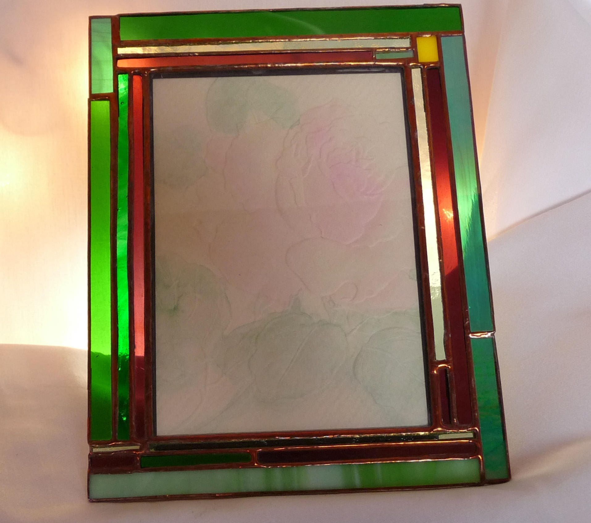 Stained glass picture frame greens purple picture frame 5 x 7 gallery photo jeuxipadfo Images