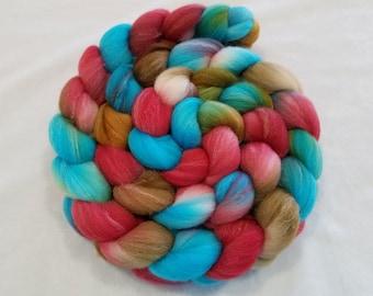 Hand Dyed Roving - Targhee/Bamboo/Silk - 80/10/10 - Spinning Fiber - 4 ounces