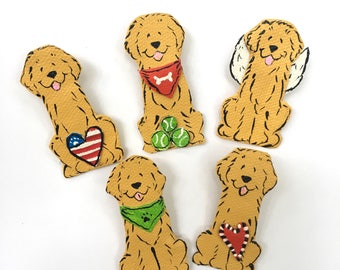 Golden Retriever layered canvas pin hand painted