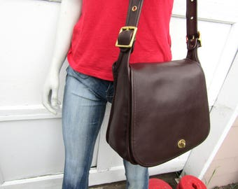 Vintage Coach Bag // Coach Stewardess Saddle Bag in Mahogany Leather // Coach Shoulder Bag //