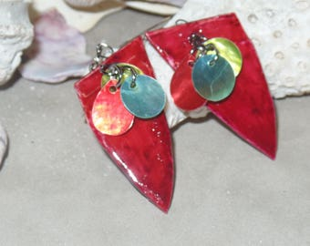 Red Dangle Earrings with turquoise, red, and chartreuse shells