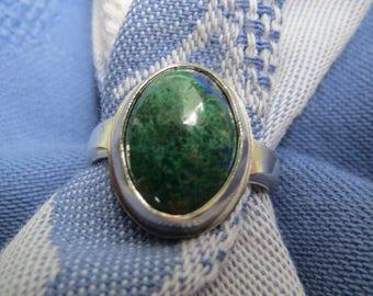 Malachite Azurite in Argentium Sterling Ring Size 6
