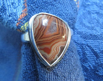 Strawberry Agate Free Form in Argentium Ring Size 8 & Three Quarters