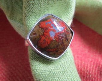 Square Moroccan Seam Agate in Sterling Ring Size 8 and a Half