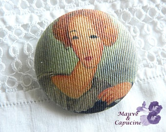 Button  fabric, printed Modigliani, 1.57 in / 40 mm