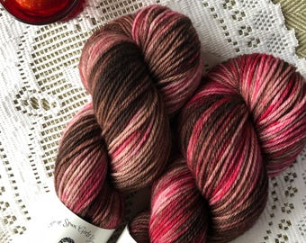 Chocolate Dipped Strawberries Indiedyed yarn  SW Merino DK weight Home Spun Girls Yarn