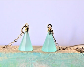 Blue Chalcedony Earrings / Boho Earrings / Long Drop Earrings / Gemstone Earrings / Crystal Earrings / Gold Earrings / Statement Earrings