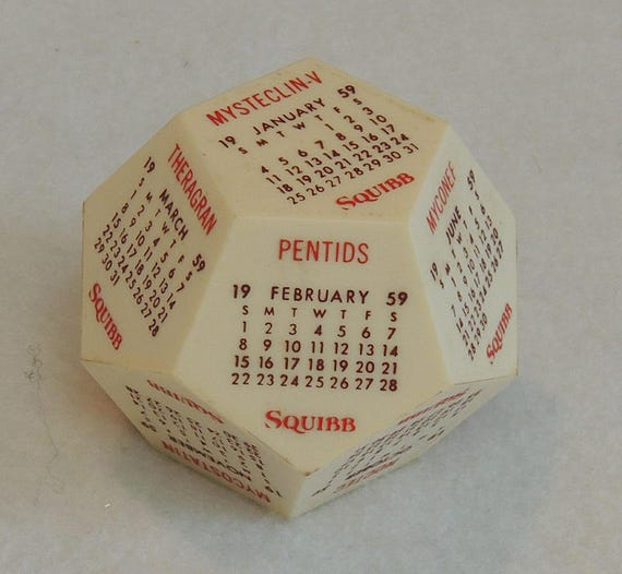 Vintage 1959 Squibb Plastic 12 Sided Advertising Calendar