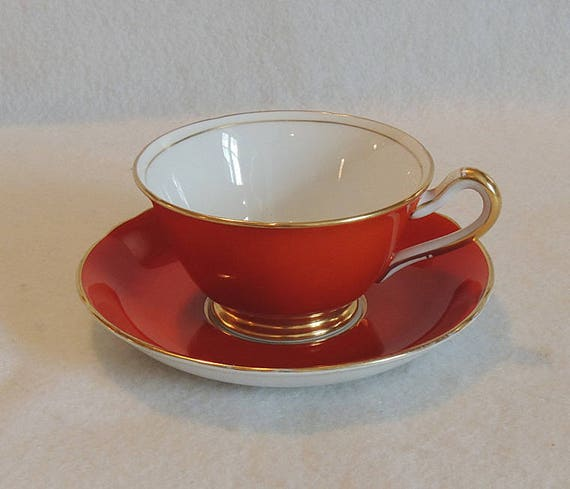 Vintage 1930s-40s English Bone China Orange W Gilt Trim Cup & Saucer.. Grosvenor