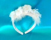 ON SALE 50% OFF, Last One, Flowered, Feathered, and Pearled Bridal Headpiece, Tiara or Headband