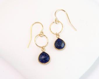 Lapis Lazuli Gold Framed Gemstone Earrings, 14k Gold Hammered Hoop, Minimalist Earrings, Gift for Friend, Dangly Gem Earring, Birthday Gift
