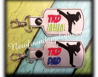 In The Hoop Taekwondo MOM, DAD, MUM Key Fob Embroidey Machine Design set