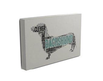 Dachshund Word Art Canvas • Personalize with your Choice of Colors • Free Shipping