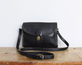 Vintage Coach Bag // Devon Bag Black Leather Messenger Crossbody Bag 9908