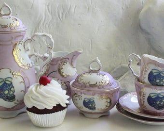 Pink, Blue, or Mismatched Sugar Skull Tea Set, Durable, Foodsafe, Day of the Dead Tea, Los Muertos Tea, Sugar Skull China, Sugar Skull Mug