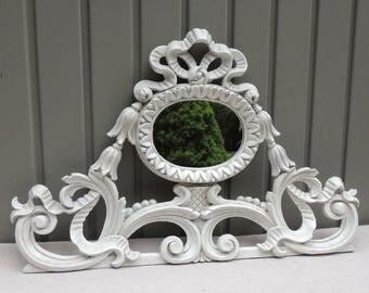 Decorative Italian Mirror, White Mirror Wall Accent, White Decorative Wall Decor, Shabby Chic Cottage Decor, Ribbon Mirror Wall Hanging