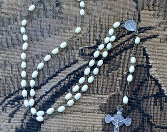 Antique French from LOURDES religious beaded catholic rosary necklace  beads, cross crucifix Jesus Christ religious Mary medal