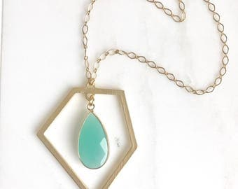 Long Necklace with Aqua Chalcedony and Moonstone Beaded Chain. Boho Style Necklace. Boho Jewelry. Long Geometric Necklace.