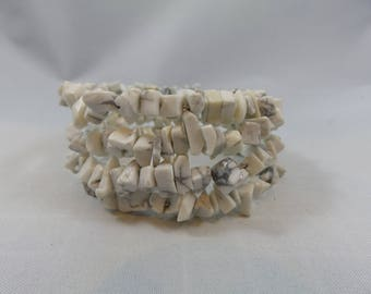 White Stone Memory Wire Bracelet