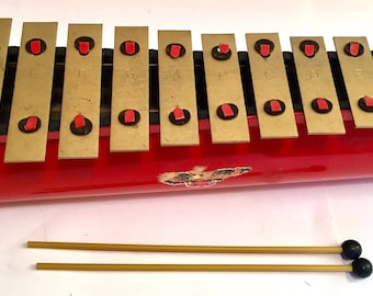 Vintage Gold and Red Tudor Console Toy Xylophone