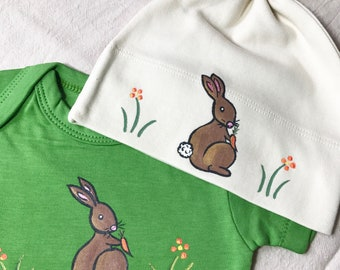 Easter Bunny or rabbit /Organic Cotton baby bodysuits and matching hat clothing sets/ baby shower gift/ peter rabbit