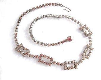 Vintage Rhinestone necklace Choker Sparkling 40s Art Deco fashion Greek key design