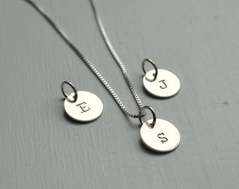 Silver Letter J Initial Disc Necklace