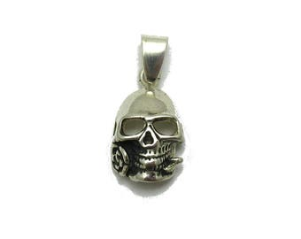 PE001277 Sterling Silver Pendant Solid 925 Skull with rose