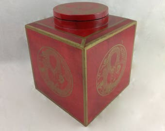 Large Red & Gold Lidded Asian Style Box//Wooden Wood Container//Dragon Motif//Wooden Storage Box//Asian Dragon Gift Box//