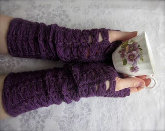 Crochet Pattern PDF for Elegant Broomstick Lace Fingerless Gloves, Gauntlets, Purple Sparkly Arm Warmers