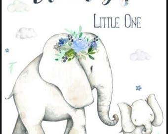 Baby Blanket, personalized baby blanket, embroidery, Crib blanket, Elephant, Baby girl, dream big little one, gray, blue, boho, bohemian,