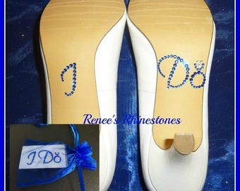 Rhinestone Bride I do shoe stickers royal blue shoe stickers cobalt blue shoe stickers bride favor bride gift bride photo prop bride shoe
