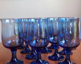 Libbey Dusty Blue Wine Glasses - set of 12