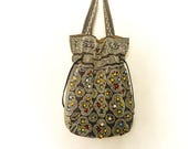Vintage 70s Hippie Purse Handbag / Drawstring Purse / Blue Denim Multicolor Beads Beaded / Festival