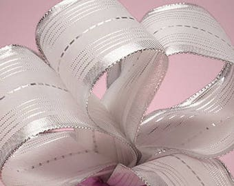 """5 yds SILVER/WHITE SWEET Ribbon, 2.5"""" wide    Scrapbooking, Hair Bows, Spring Events Party Supplies, Weddings"""