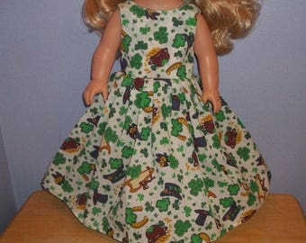 American 18 Inch Doll Clothes dress gown white with Shamrock on it