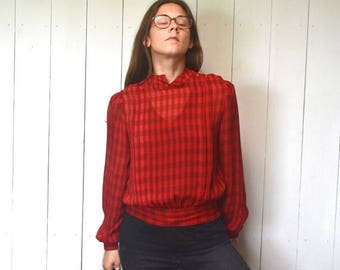 34% Off Sale - Checker Print Blouse Early 90s Does 50s Vintage Sheer Red Black Cropped Top Twin Peaks Audrey Horne Style Small Medium