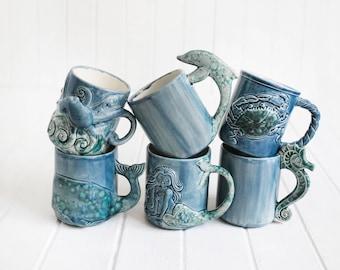 Dolphin Gift Mug Handmade Large Ceramic Coffee Mugs from my Charleston, SC Studio