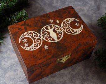 Wicca Triple Moon Hand Painted Goddess Box