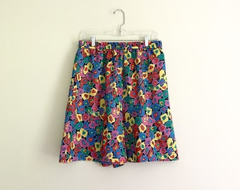 1990s deadstock bright graphic print high waisted shorts - size extra large