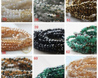 One Strand Chinese Crystal / Glass Crystal / Rondelle / Faceted 4*3.5mm (G10D)