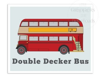 London Bus download print, Double decker bus art, Vehicle printables, London wall art, Nursery prints, Printables for kids, Bus wall art