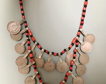Berber Necklace with Spanish Coins and Coral - Onyx Beads